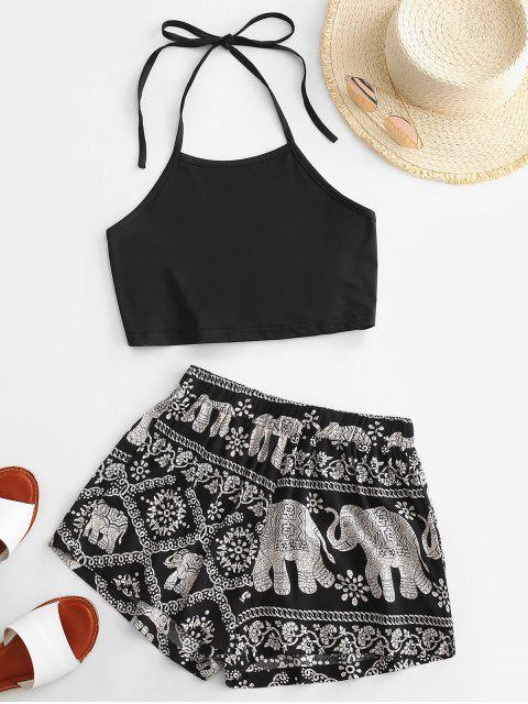 women Halter Tie Back Elephant Print Two Piece Set - BLACK L Mobile