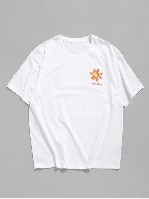 Maglietta a Girocollo con Grafica Floreale a Lettera - Bianca M Mobile