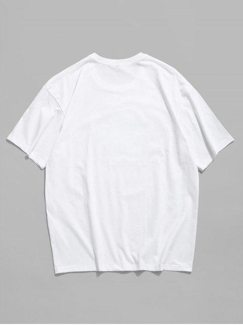 Maglietta a Girocollo con Grafica Floreale a Lettera - Bianca 2XL Mobile