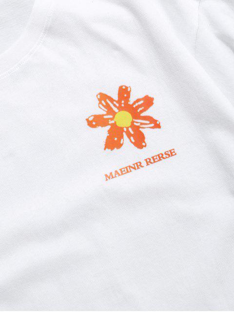 T-shirt de Manga Comprida com Impressão Floral - Branco 2XL Mobile