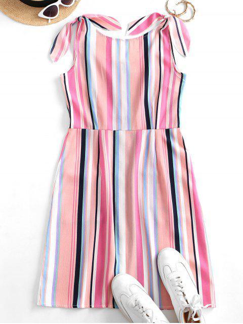 sale Colorful Striped Button Through Pocket Tied Dress - MULTI-A XL Mobile