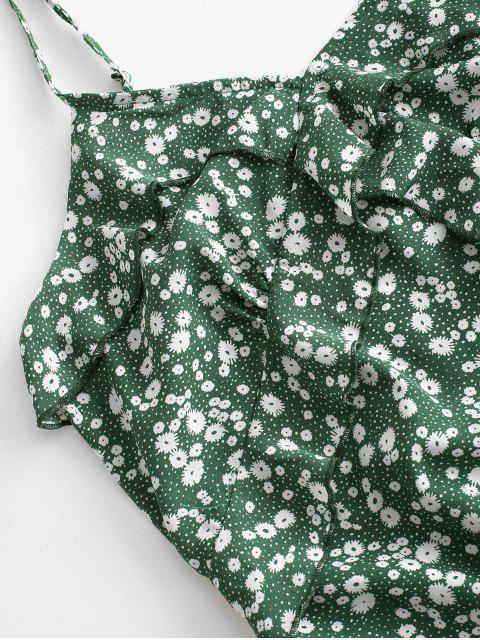 ZAFUL Mini Robe Fleurie à Bretelle à Volants - Vert Trèfle L Mobile