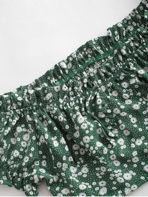 fancy ZAFUL Belted Ditsy Floral Off Shoulder Two Piece Set - SHAMROCK GREEN S Mobile
