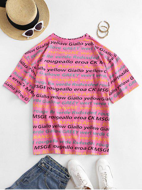 文字柄ドロップショルダーゆったりTシャツ - ピンク XL Mobile