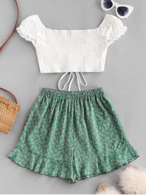 lady Ditsy Print Cinched Ruffle Loose Shorts Set - CLOVER GREEN S Mobile