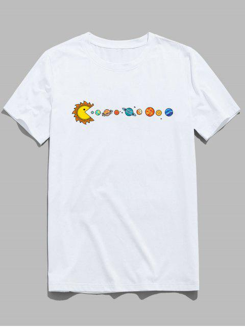 lady ZAFUL Planet Printed Short Sleeves T-shirt - WHITE S Mobile