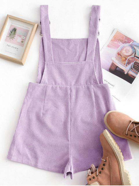latest Dual Pockets Tie Dye Corduroy Pinafore Romper - PURPLE S Mobile