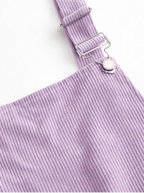 chic Dual Pockets Tie Dye Corduroy Pinafore Romper - PURPLE XL Mobile