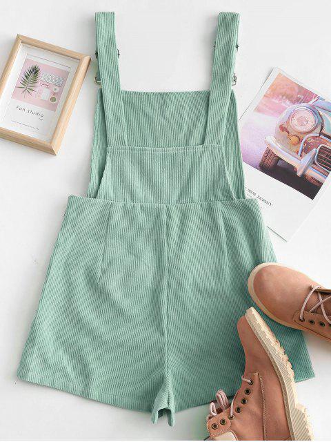 shops Dual Pockets Tie Dye Corduroy Pinafore Romper - GREEN XL Mobile