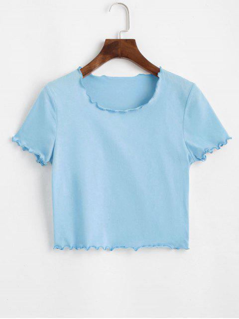women's ZAFUL Lettuce Trim Crop Stretchy Tee - LIGHT SKY BLUE M Mobile