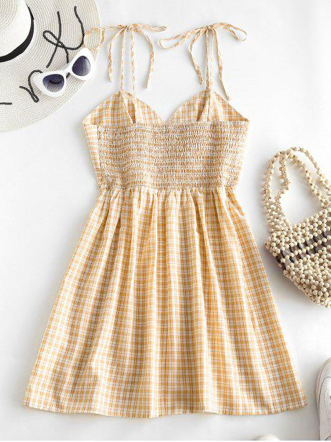 lady ZAFUL Gathered Front Tie Shoulder Smocked Plaid Dress - YELLOW L Mobile