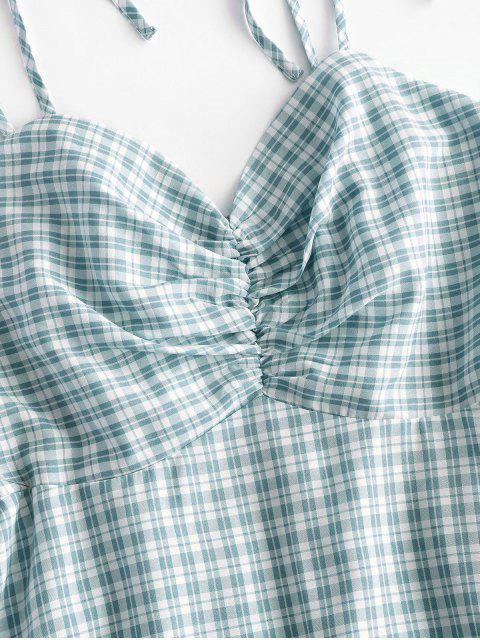 ZAFUL Kariertes Gerafftes Kleid mit Geraffter Schulterpartie - Grün L Mobile
