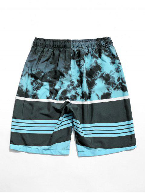 women Striped Painting Printed Casual Shorts - MACAW BLUE GREEN XS Mobile