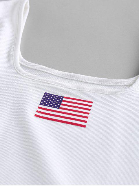 ZAFUL Débardeur Court Côtelé Drapeau Américain Patriotique - Blanc S Mobile