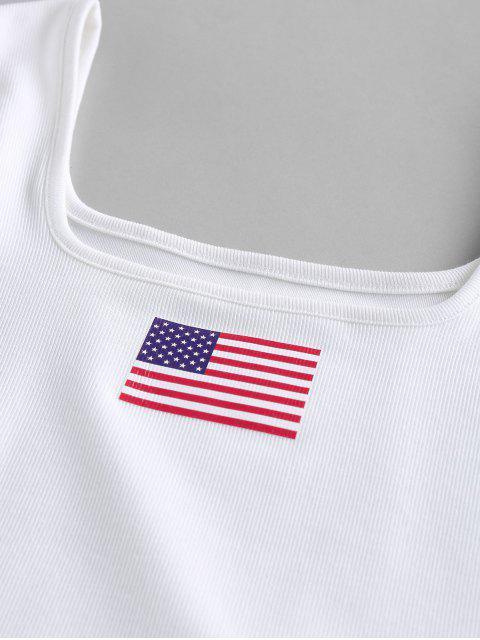ZAFUL Débardeur Court Côtelé Drapeau Américain Patriotique - Blanc L Mobile