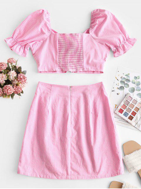 outfit Tie Front Smocked Back Gingham Two Piece Dress - PINK CUPCAKE L Mobile