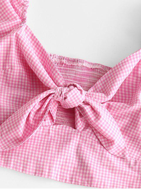 shops Tie Front Smocked Back Gingham Two Piece Dress - PINK CUPCAKE S Mobile