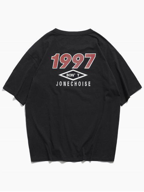 Kurzarm Buchstabe Grafikdruck Basik T-Shirt - Schwarz M Mobile