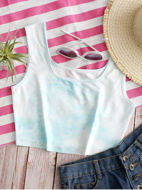 hot Tie Dye U Neck Crop Tank Top - MULTI-A L Mobile