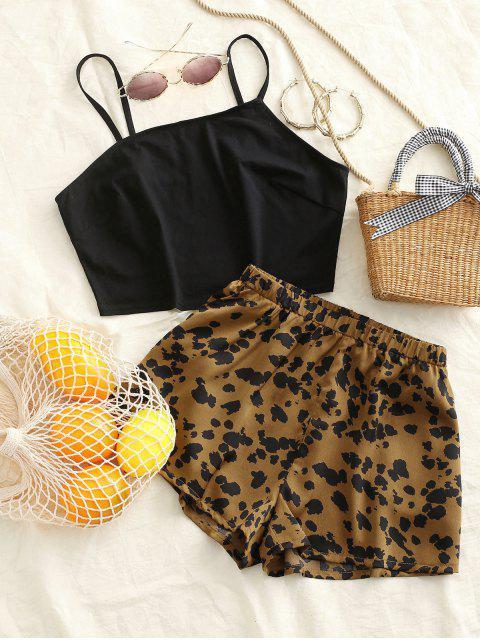 buy Leopard Pocket Wide Leg Shorts Set - BLACK S Mobile