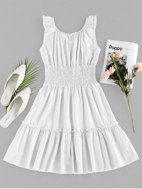 trendy ZAFUL Smocked Ruched Mini A Line Dress - WHITE S Mobile