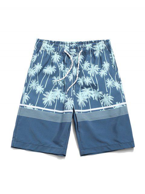 sale Coconut Tree Print Drawstring Shorts - CYAN OPAQUE S Mobile