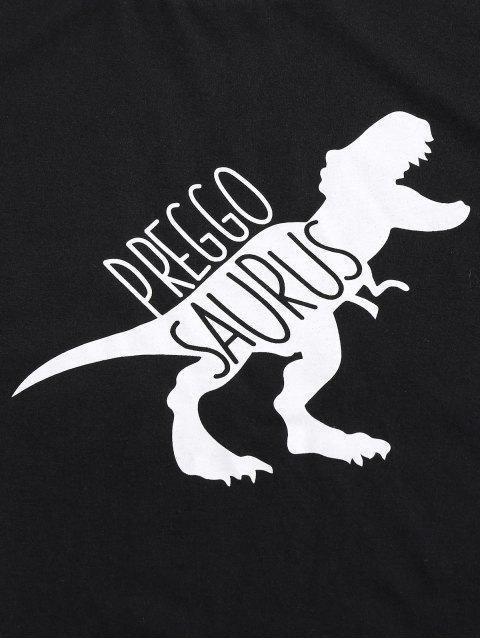 ZAFUL Camiseta Básica con Estampado de Dinosaurio - Negro S Mobile