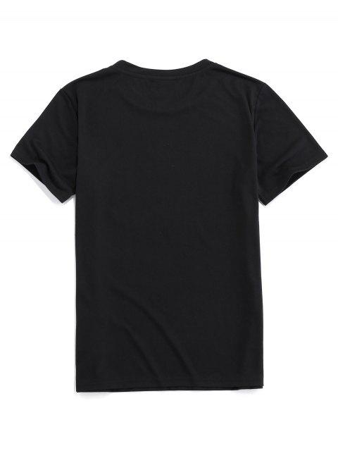 ZAFUL Camiseta Básica con Estampado de Dinosaurio - Negro M Mobile