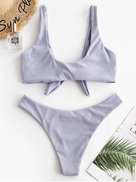 ZAFUL Verknoteter Bikini Badebekleidung mit Rippen - Mauve S Mobile