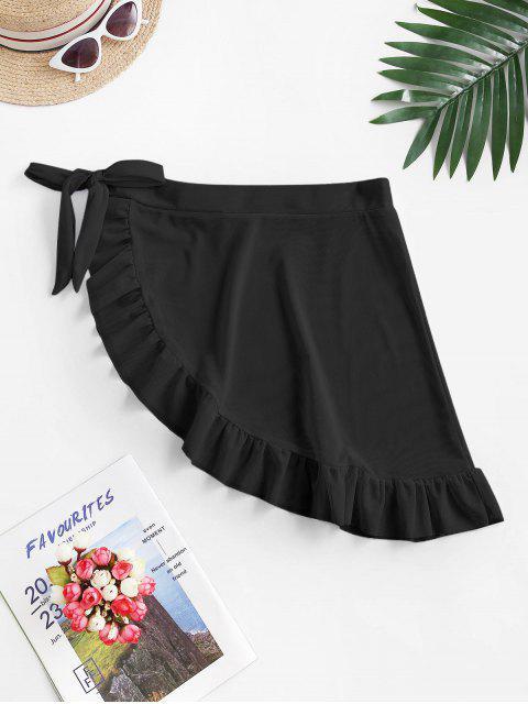 online ZAFUL Mesh Sheer Flounce Sarong Cover Up Skirt - BLACK M Mobile