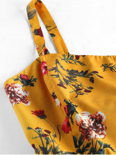 ZAFUL Vestido de Sol con Estampado de Plantas con Nudo en Espalda - Amarilla de Abeja  L Mobile