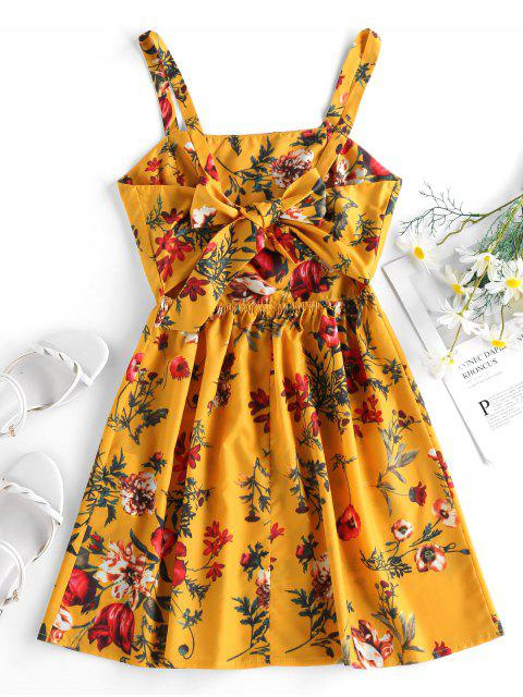 outfit ZAFUL Plant Print Back Knot Sundress - BEE YELLOW S Mobile