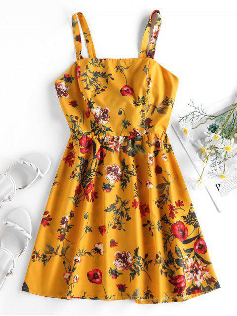 fashion ZAFUL Plant Print Back Knot Sundress - BEE YELLOW M Mobile