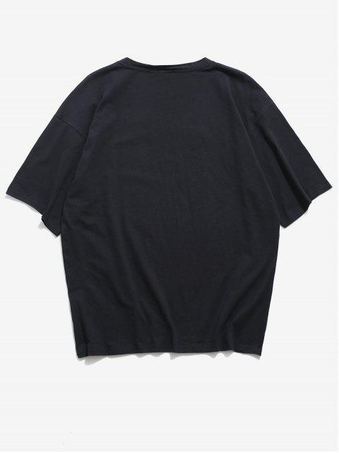 Round Neck Graphic Basic T Shirt - أسود XL Mobile