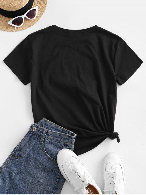 womens Sequined Bowknot Figure Patch Tee - BLACK XL Mobile
