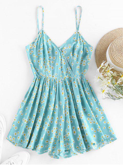 shops ZAFUL Daisy Print Smocked Surplice Romper - BLUE HOSTA L Mobile
