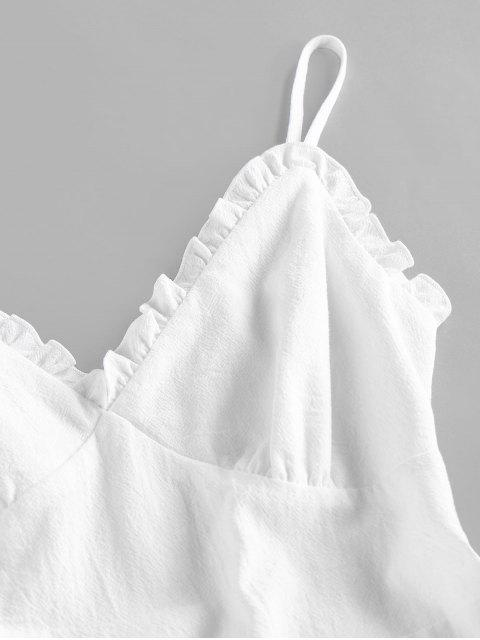ZAFUL Gekräuseltes Geknöpftes Sommerkleid - Weiß XL Mobile
