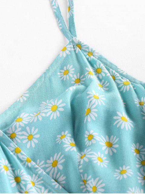 ZAFUL Barboteuse Superposée Fleurie Imprimée Plissée - Bleu Hosta S Mobile