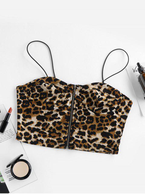 ZAFUL Torça Cami Top de Cabelos Claros Ondulado sem Tampa à Moda do Leopardo - Leopardo XL Mobile