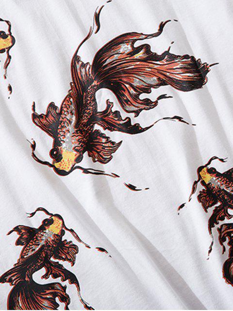 Camiseta de Manga Larga con Estampado de Koi - Blanco M Mobile