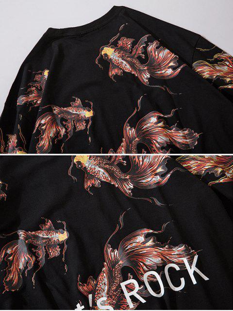 Camiseta de Manga Larga con Estampado de Koi - Negro M Mobile