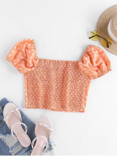 outfit ZAFUL Polka Dot Puff Sleeve Crop Blouse - PUMPKIN ORANGE S Mobile