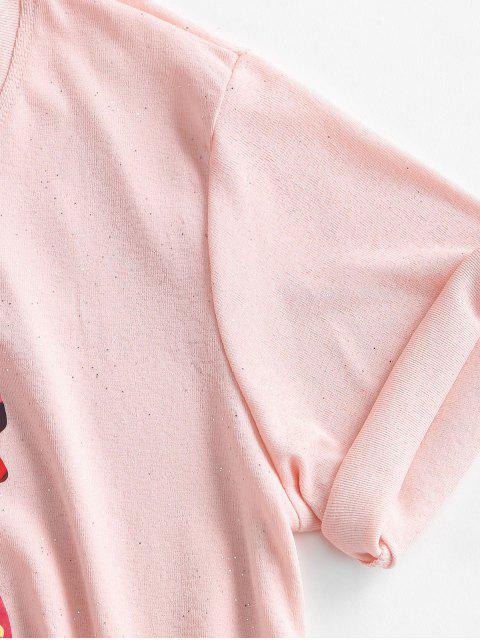 T-Shirt Grafica con Paillettes - Rosa L Mobile