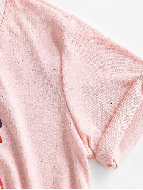 Camiseta de lantejoulas sem mangas com abertura atrás - Rosa XL Mobile