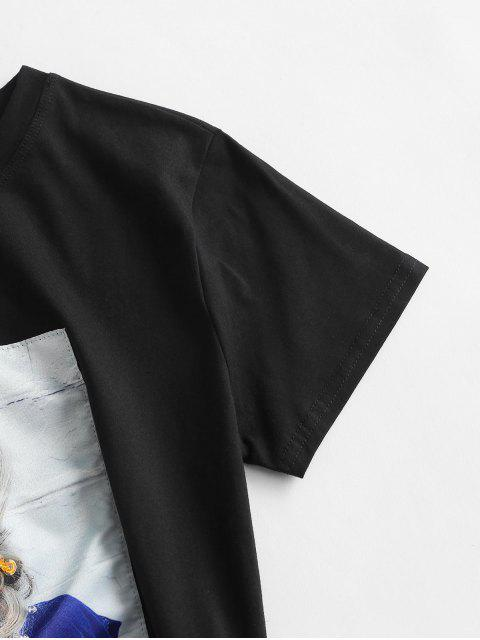 women's Sequined Figure Patch Tee - BLACK L Mobile
