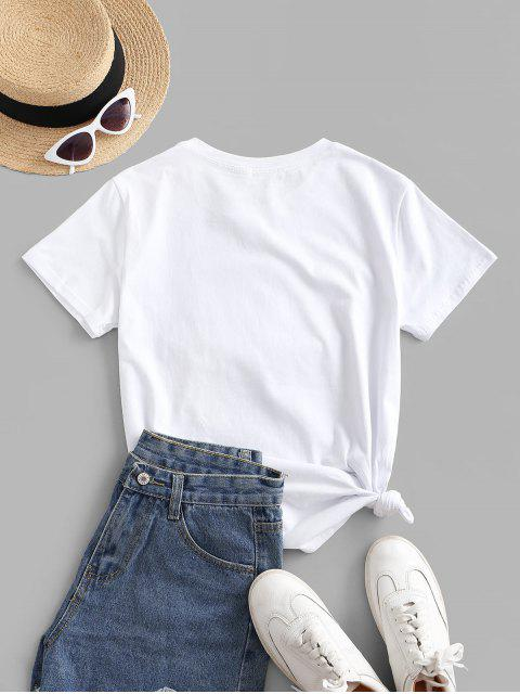 outfits Sequined Figure Patch Tee - WHITE XL Mobile