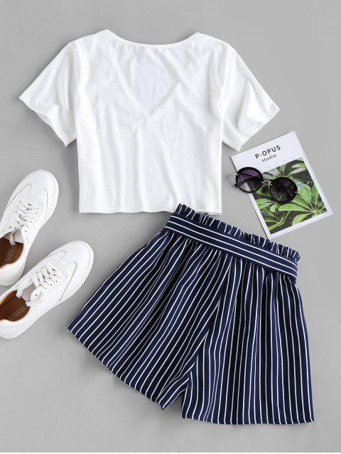 new ZAFUL Belted Striped Two Piece Set - CADETBLUE XL Mobile