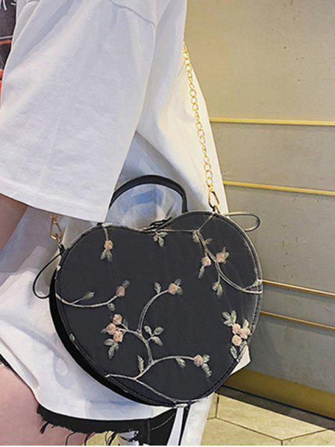 outfits Heart Shape Embroidery Crossbody Bag - BLACK  Mobile