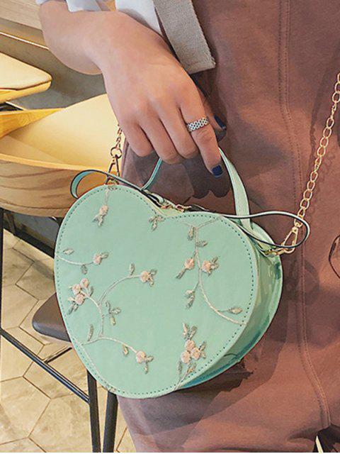 outfit Heart Shape Embroidery Crossbody Bag - LIGHT GREEN  Mobile