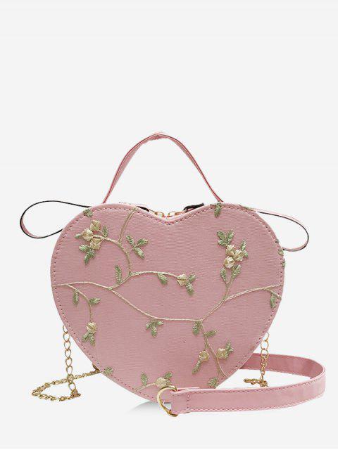 Bolso de Bandolera Bordado en Forma de Corazón - Rosado  Mobile